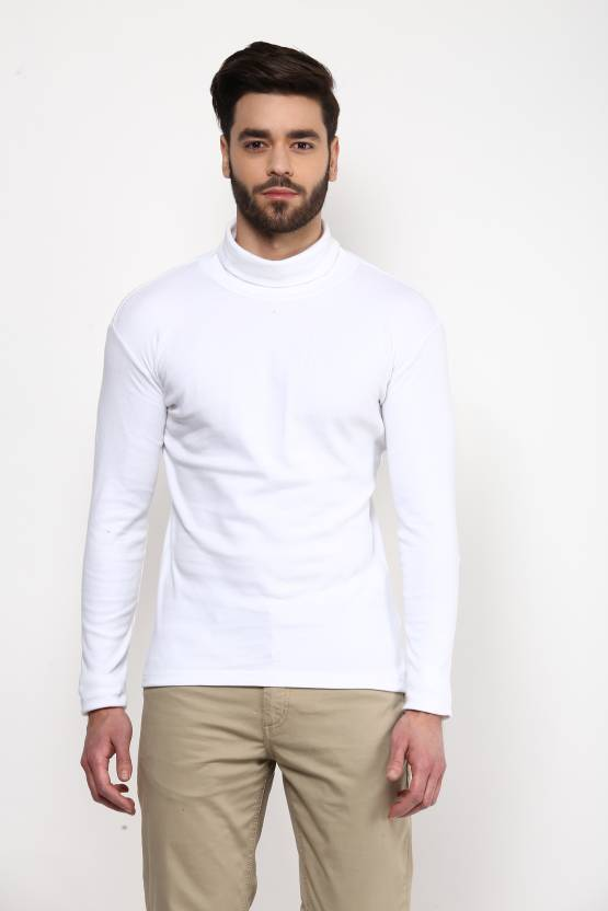 Hypernation Solid Men s Turtle Neck White T-Shirt - Buy White Hypernation  Solid Men s Turtle Neck White T-Shirt Online at Best Prices in India  7869e9c66