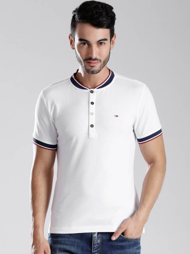 dba3d72b5 Tommy Hilfiger Solid Men's Mandarin Collar White T-Shirt - Buy White Tommy  Hilfiger Solid Men's Mandarin Collar White T-Shirt Online at Best Prices in  India ...