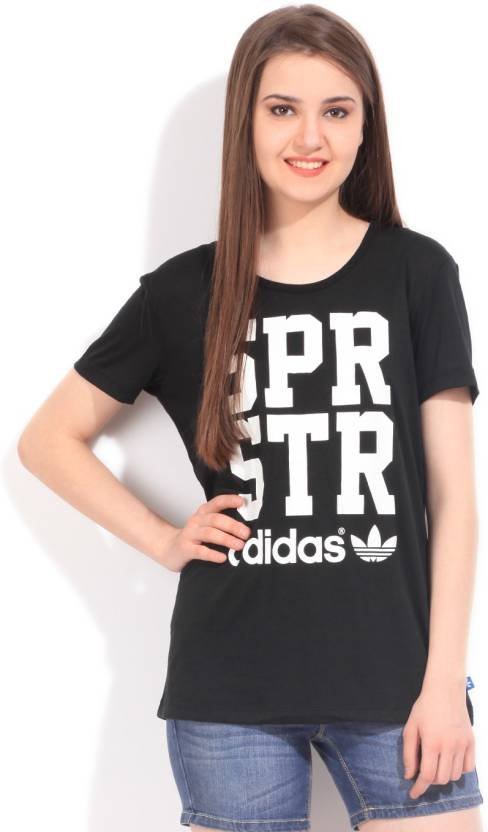 ffcc1164 ADIDAS ORIGINALS Printed Women's Round Neck Black T-Shirt - Buy ...
