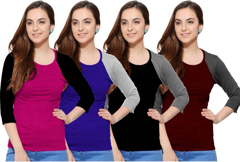 So Sweety Solid Women's Round Neck Multicolor T-Shirt  (Pack of 4)