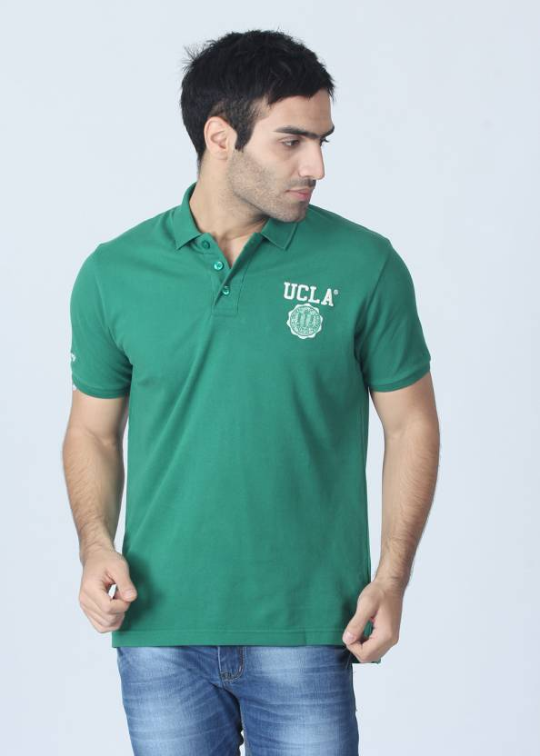 ca147f29a UCLA Solid Men's Polo Neck Green T-Shirt - Buy Green UCLA Solid Men's Polo  Neck Green T-Shirt Online at Best Prices in India   Flipkart.com