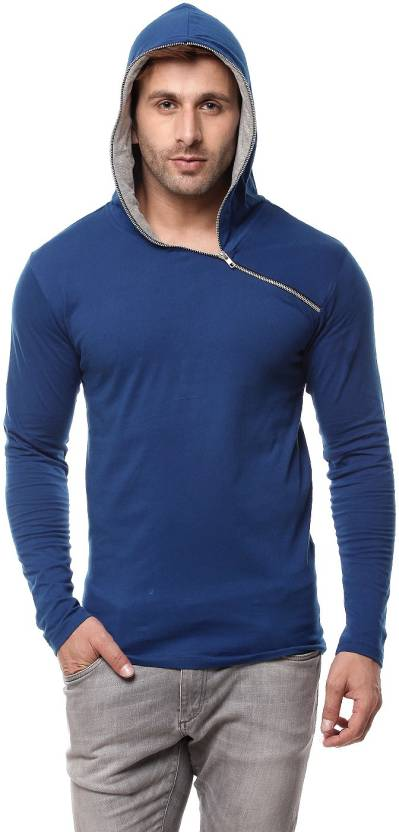 Gritstones Solid Mens Hooded Blue T-Shirt