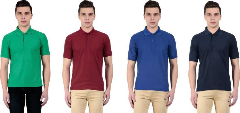 1b7c44f69bfc Vestiario Solid Men s Polo Neck Multicolor T-Shirt - Buy multicolor ...