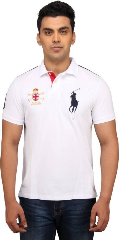 Ralph Men's White Shirt Lauren T Polo Neck Solid SpzVUqM