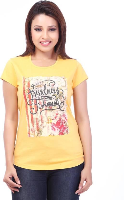 e49c140aa6b Florenza Graphic Print Women s Round Neck Yellow T-Shirt - Buy Yellow  Florenza Graphic Print Women s Round Neck Yellow T-Shirt Online at Best  Prices in ...