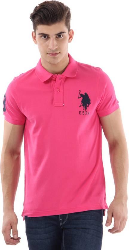 U s polo assn solid men 39 s polo neck pink t shirt buy Us polo collar t shirts