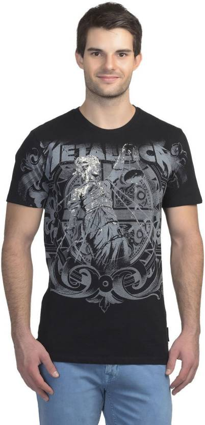 53dc678472c Metallica Printed Men s Round Neck Black T-Shirt - Buy METALLICA ...