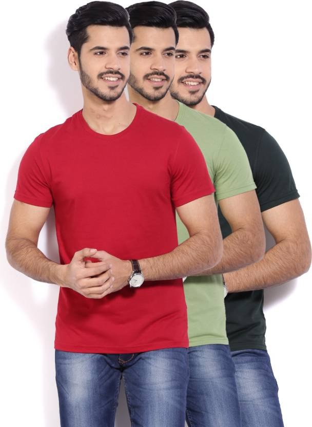 Peter England Solid Mens Round Neck Red T-Shirt  (Pack of 3)