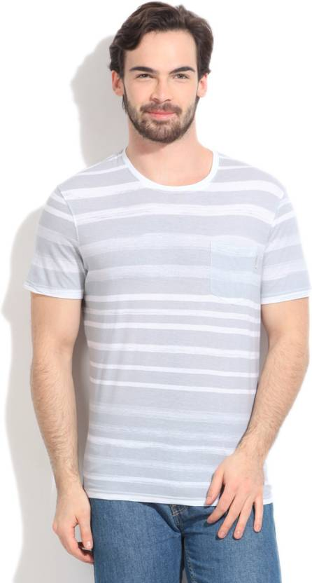 6aaa2271008 Calvin Klein Striped Men s Round Neck White