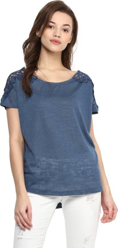 e79d6af92 Izabel London by Pantaloons Solid Women's Round Neck Dark Blue T-Shirt -  Buy NAVY Izabel London by Pantaloons Solid Women's Round Neck Dark Blue T- Shirt ...