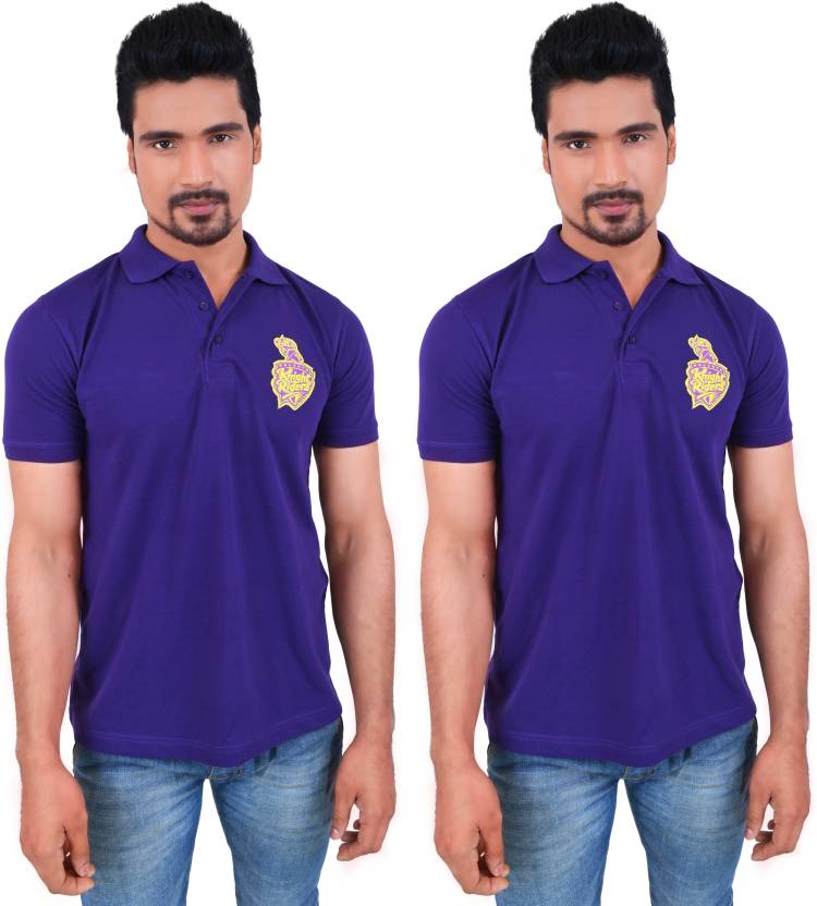129daefef KOLKATA KNIGHT RIDERS Solid Men's Polo Neck Purple T-Shirt (Pack of 2)