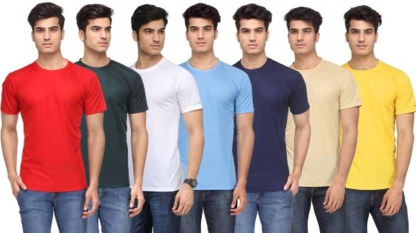 f86c401e49d Rico Sordi Solid Men s Round Neck Multicolor T-Shirt (Pack of 7)