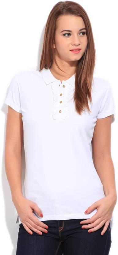Flying Machine Solid Women's Polo Neck White T-Shirt