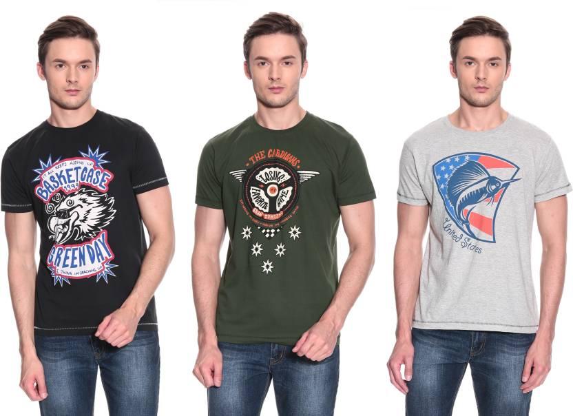 Phoenix Graphic Print Men's Round Neck Multicolor T-Shirt