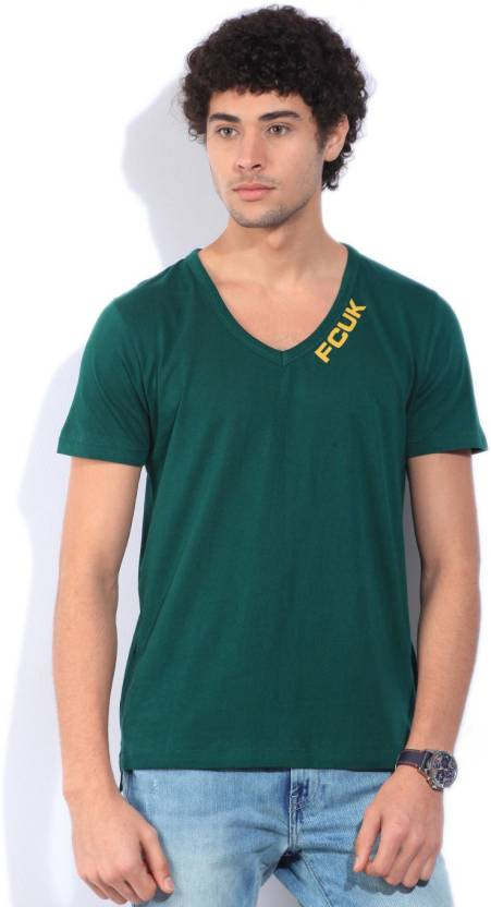 41e97aed2376 French Connection Solid Men's V-neck Green T-Shirt - Buy Deep Teal French  Connection Solid Men's V-neck Green T-Shirt Online at Best Prices in India  ...