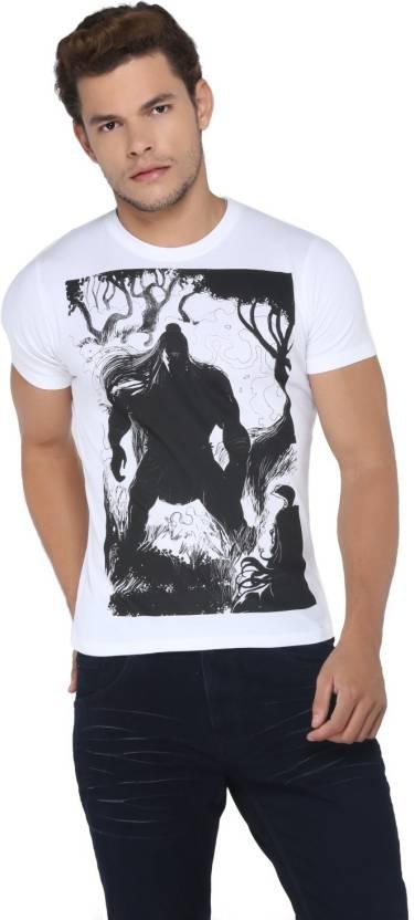Vimanika Printed Men's Round Neck White T-Shirt