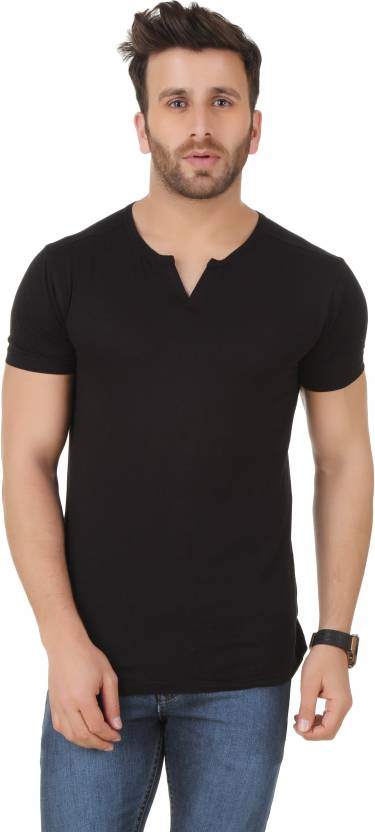 c12ac45a Frost Solid Men's Round Neck Black T-Shirt - Buy Black Frost Solid ...