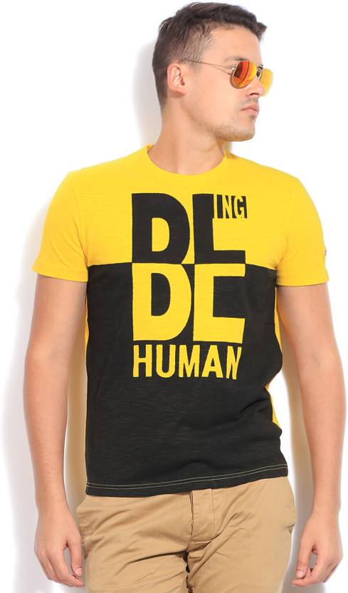 b9b6be72081ac0 Being Human Clothing Printed Men s Round Neck Yellow T-Shirt - Buy POP YLOW Being  Human Clothing Printed Men s Round Neck Yellow T-Shirt Online at Best ...
