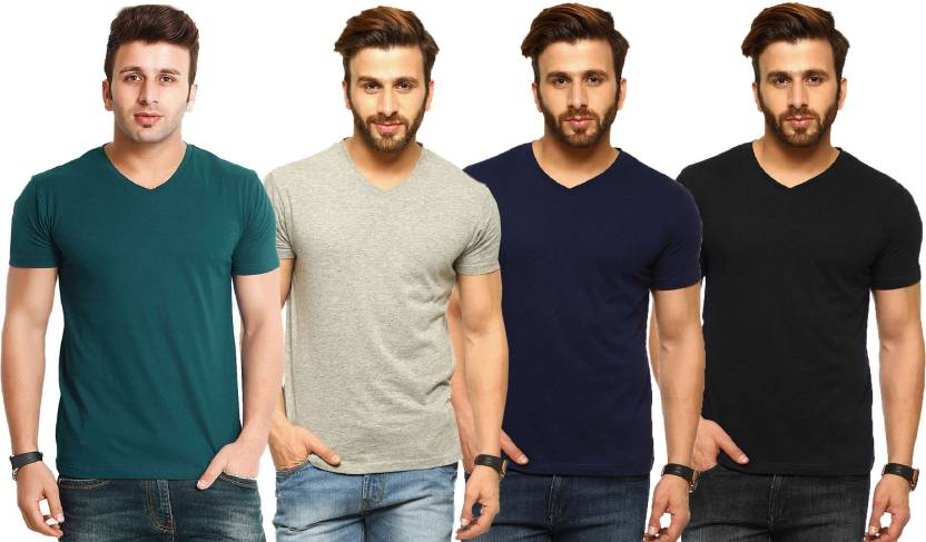 Tripr Solid Mens V-neck Green, Grey, Black, Dark Blue T-Shirt  (Pack of 4)