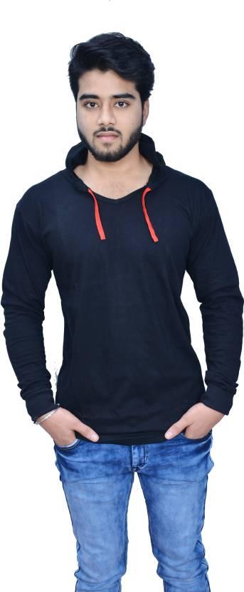 Upto 90 % Off On Men's T-Shirts By Flipkart | uzee Solid Men's Hooded Black T-Shirt @ Rs.329