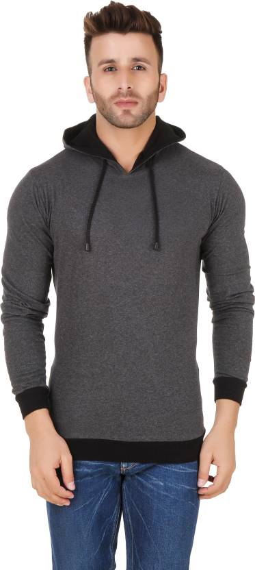 Fabstone Solid Mens Hooded Grey T-Shirt