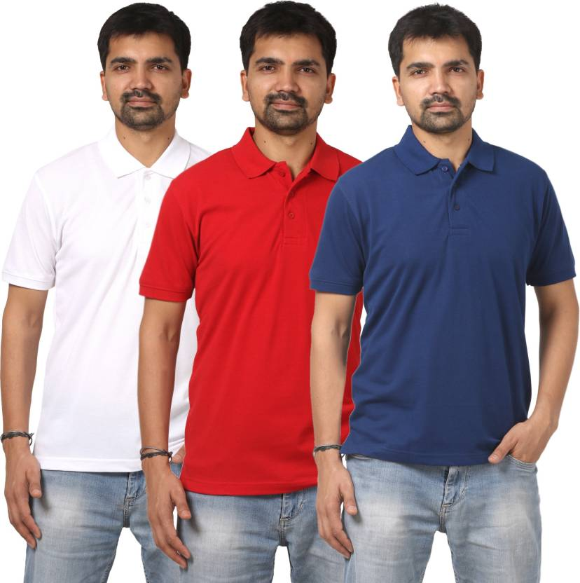 86a16934a SE-SAT Solid Men's Polo Neck Dark Blue, White, Red T-Shirt (Pack of 3)