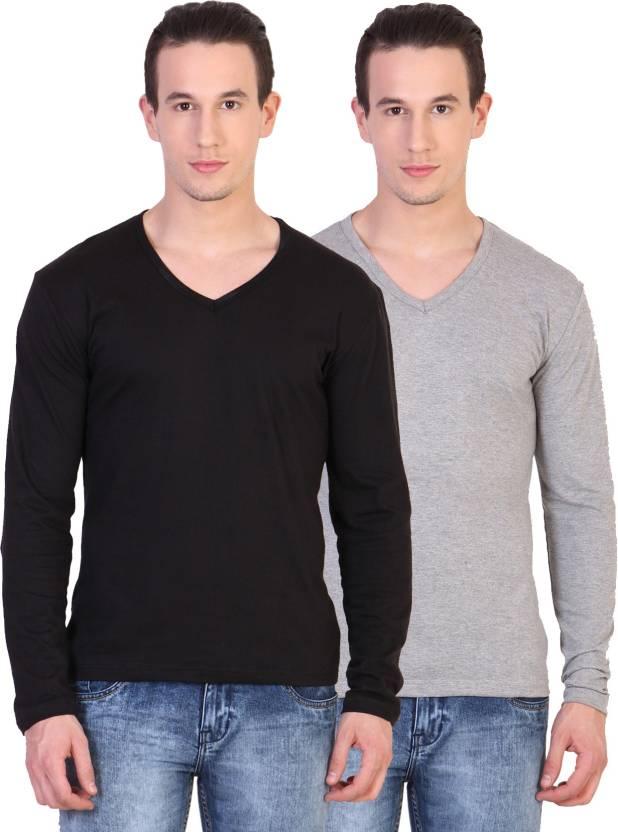 Katso Solid Mens V-neck Multicolor T-Shirt  (Pack of 2)