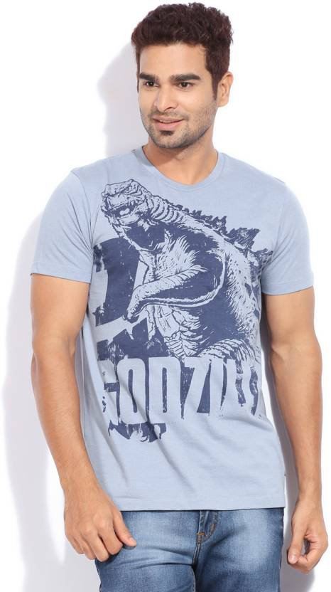 GODZILLA Animal Print Men's Round Neck Blue T-Shirt