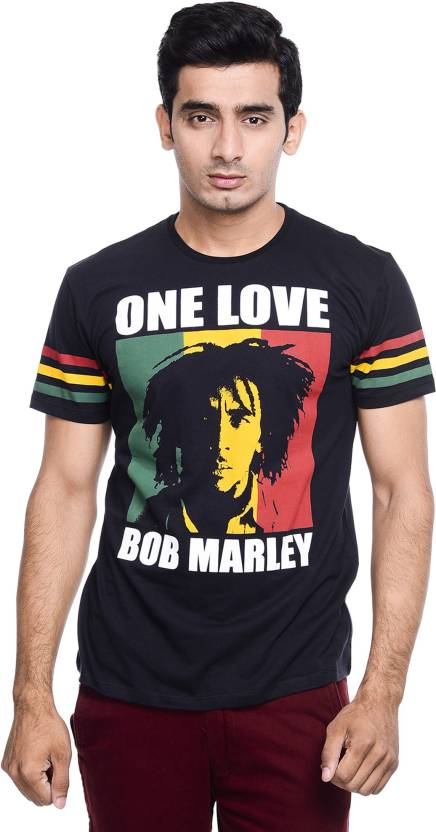 0e2680801722 BOB MARLEY Printed Men's Round Neck Black T-Shirt - Buy BLACK BOB ...