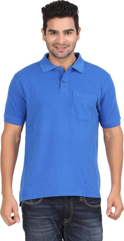 657d8985294 Moonwalker Solid Men s Polo Neck Blue T-Shirt - Buy Blue Moonwalker Solid  Men s Polo Neck Blue T-Shirt Online at Best Prices in India