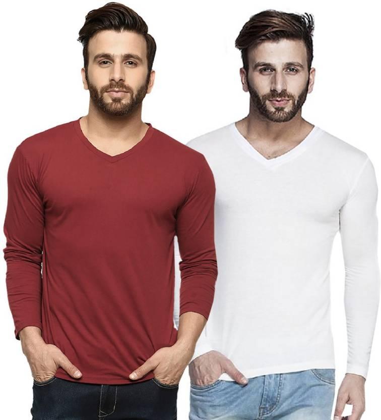 3b3e8615f Tripr Solid Men s V-neck Multicolor T-Shirt - Buy White Maroon Tripr ...