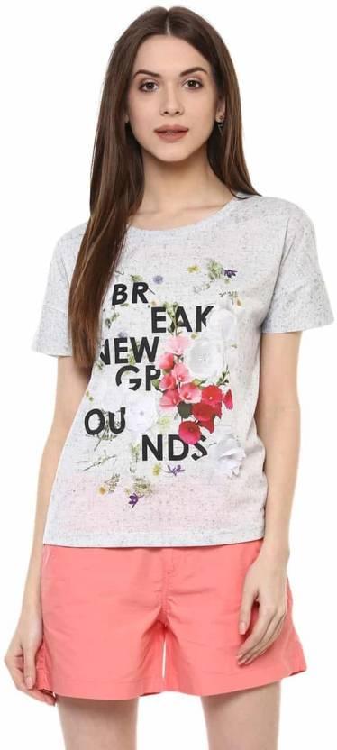 e68450f1a6afdd Honey By Pantaloons Printed Women's Round Neck White, Black T-Shirt ...
