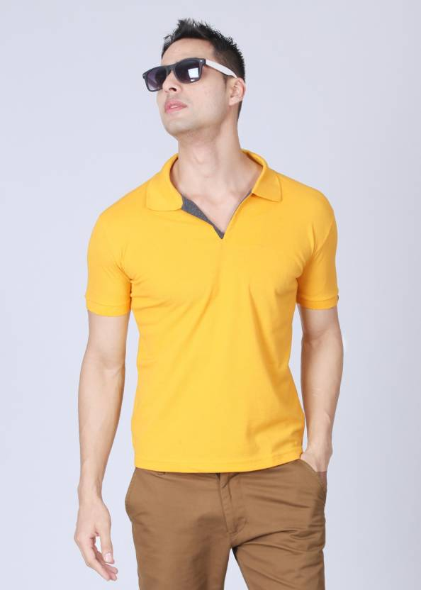Status Quo Solid Men's Polo Neck Yellow T-Shirt