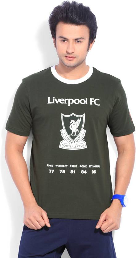 Liverpool Football Club Printed Mens Round Neck Grey T Shirt