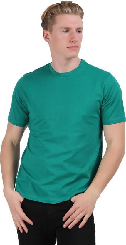 Checkers Bay Solid Mens Round Neck Dark Blue T-Shirt