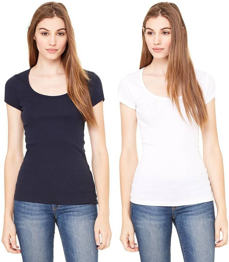 Fashion Line Solid Women's Round Neck Black, White T-Shirt  (Pack of 2)