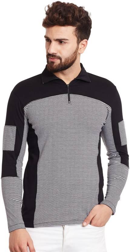 7f683bb3b Hypernation Striped, Solid Men's Polo Neck Black, White T-Shirt - Buy  Hypernation Striped, Solid Men's Polo Neck Black, White T-Shirt Online at  Best Prices ...
