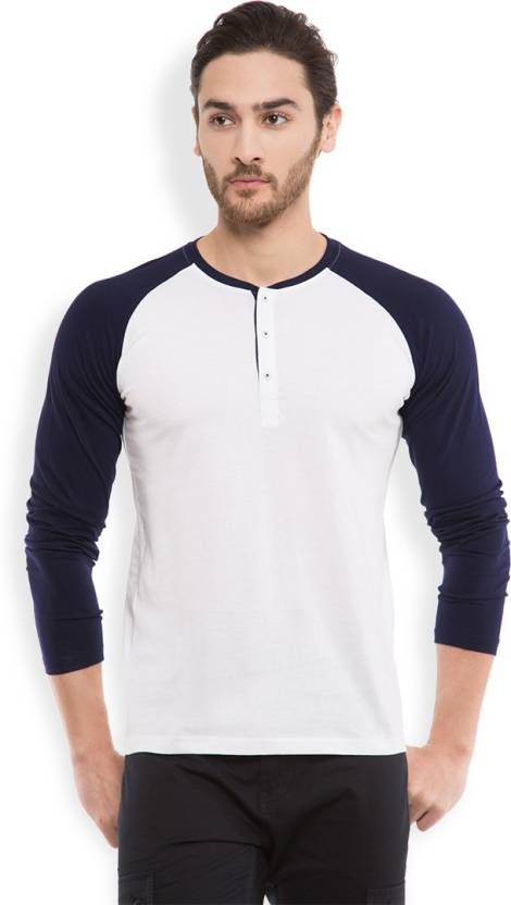 Highlander Solid Mens Henley White T-Shirt