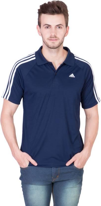 0fd69eb4 ADIDAS Solid Men's Polo Neck Dark Blue, White T-Shirt - Buy Navy-White  ADIDAS Solid Men's Polo Neck Dark Blue, White T-Shirt Online at Best Prices  in India ...