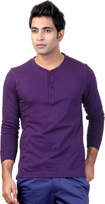 Top Notch Solid Mens Henley Purple T-Shirt