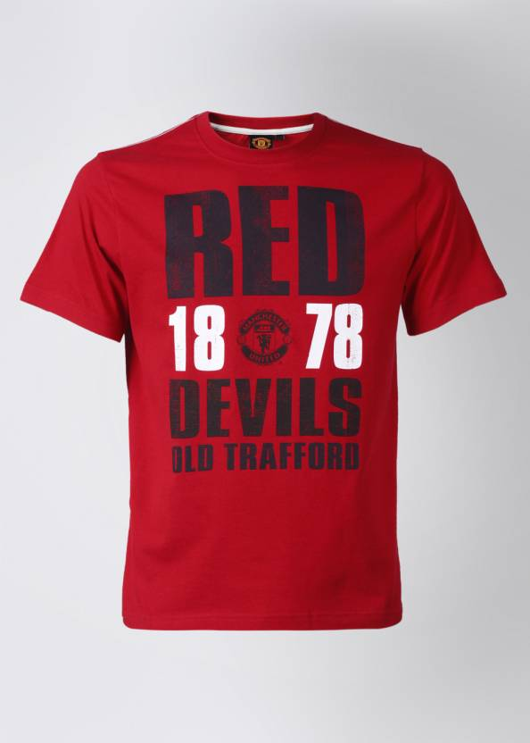reputable site 9ef86 01b2f Manchester United Printed Men's Round Neck Red T-Shirt - Buy ...