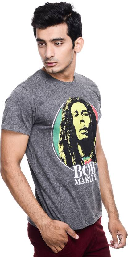 0a741c81a0fe BOB MARLEY Printed Men's Round Neck Grey T-Shirt - Buy ANTHRA MEL BOB MARLEY  Printed Men's Round Neck Grey T-Shirt Online at Best Prices in India ...