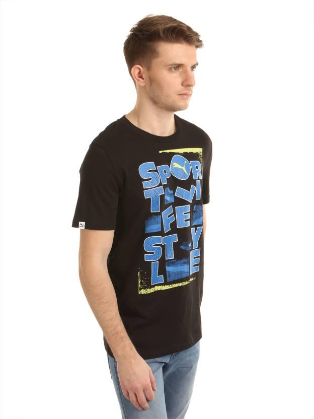 Puma Graphic Print Men's Round Neck Black T-Shirt