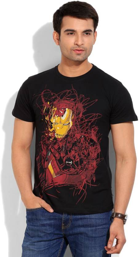 2c67e8b5d Iron Man Printed Men's Round Neck Black T-Shirt - Buy BLACK Iron Man Printed  Men's Round Neck Black T-Shirt Online at Best Prices in India | Flipkart.com