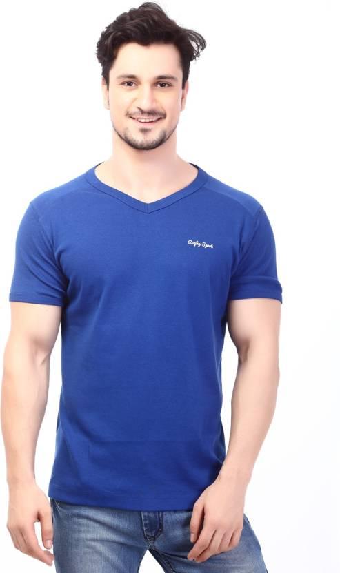 e811426c3 Rugby Solid Men's V-neck Blue T-Shirt - Buy Royal Rugby Solid Men's V-neck  Blue T-Shirt Online at Best Prices in India   Flipkart.com