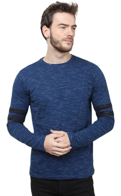 SayItLoud Solid Mens Round Neck Blue, Black T-Shirt