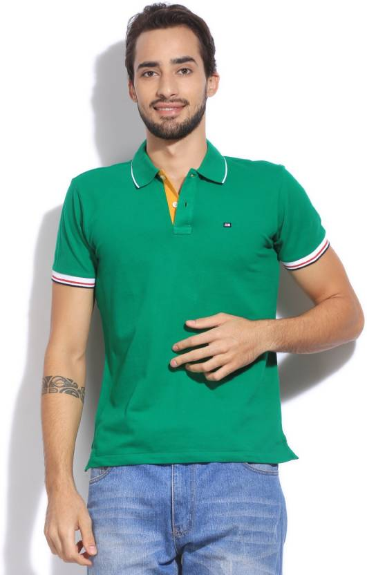 Arrow Sport Solid Men's Polo Neck Green T-Shirt