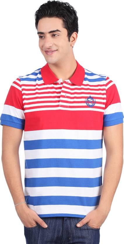 Puma Striped Men's Polo Neck White, Blue, Red T-Shirt