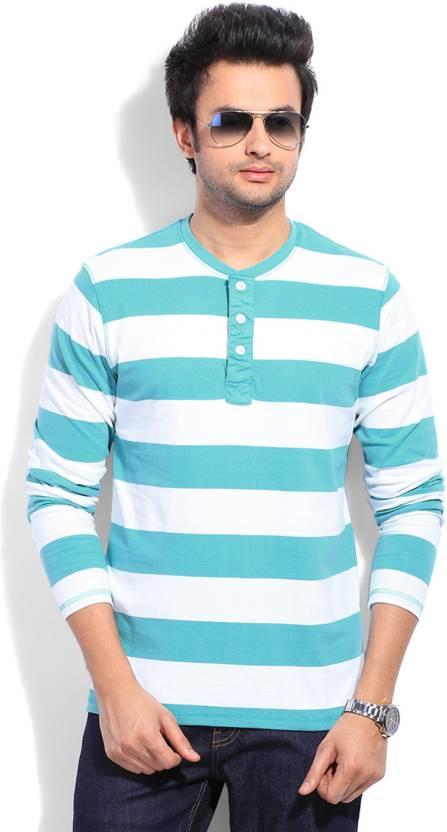 a51782625fe0 Freecultr Striped Men's Henley White, Light Blue T-Shirt - Buy Sea ...