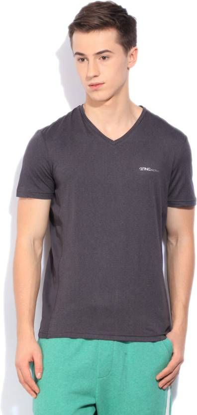 f6a856647f52b Being Human Solid Men s V-neck Grey T-Shirt - Buy CHARCOAL Being Human  Solid Men s V-neck Grey T-Shirt Online at Best Prices in India